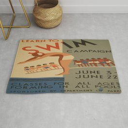 Vintage poster - Learn to swim Rug