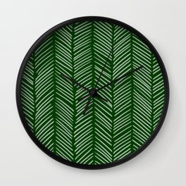 Forest Green Herringbone Wall Clock