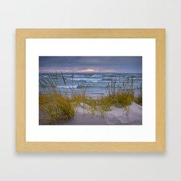 Lake Michigan Dune with Beach Grass at Sunset Framed Art Print
