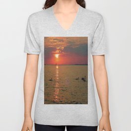 Swans in the Sunset Unisex V-Neck