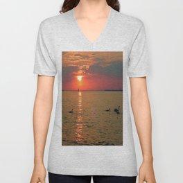 Swans in the Sunset Unisex V-Neck
