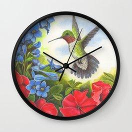 Hummingbird and Delphiniums Wall Clock