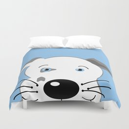 Cute Pit Bull Gray White with Blue eyes Cartoon Duvet Cover