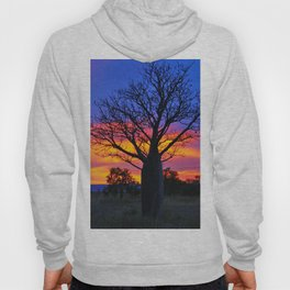 Pink and Purple Sky behind Boab Hoody