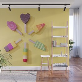 Ice Cream Lollipops on a Bright Yellow Background Wall Mural