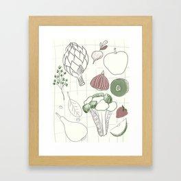 Green Fruits&Vegetables Framed Art Print