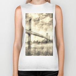Manhattan Bridge New York Vintage Biker Tank