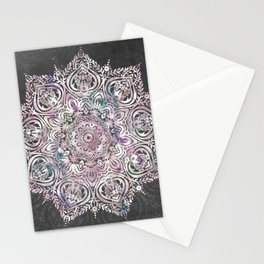 Dreaming Mandala - Magical Purple on Gray Stationery Cards