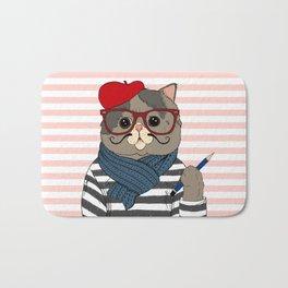 French Cat Bath Mat