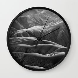 Endless Valleys (Black and White) Wall Clock
