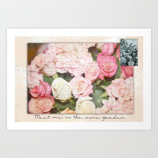 Meet me in the rose garden Art Print