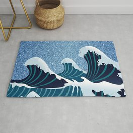 Abstract white navy blue glitter japanese waves Rug