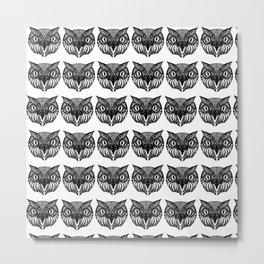 Owl Doodle hand drawn black on white background Metal Print