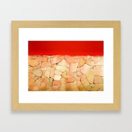 Urban Tiled Wall and Red Paint Framed Art Print
