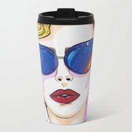 80's Lady Fashion Illustration Metal Travel Mug