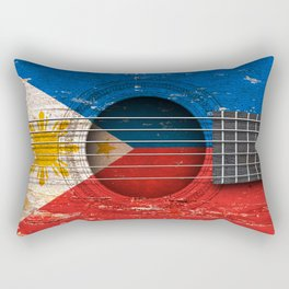 Old Vintage Acoustic Guitar with Filipino Flag Rectangular Pillow