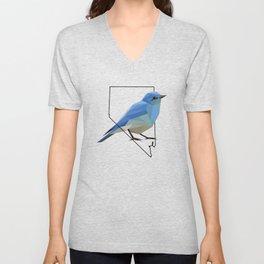 Nevada – Mountain Bluebird Unisex V-Neck