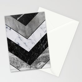 Shimmering mirage - grey marble chevron Stationery Cards