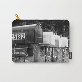Black and white row of old road country us mailboxes Carry-All Pouch