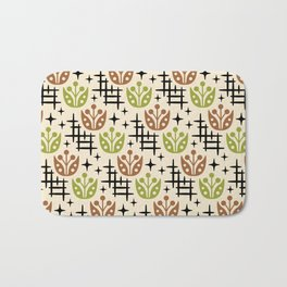 Mid Century Modern Space Flower Pattern Brown and Chartreuse Bath Mat