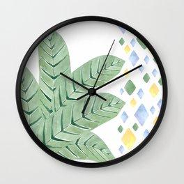Tropical leaves decorative strip Wall Clock