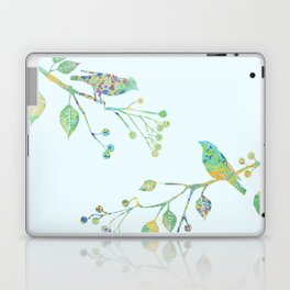 Birds on Branches Love Bird Couple Vintage Floral Pattern Green Yellow Blue Laptop & iPad Skin