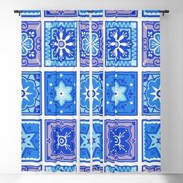 Talavera Mexican Tile – Blue Palette Blackout Curtain