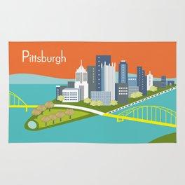 Pittsburgh, Pennsylvania - Skyline Illustration by Loose Petals Rug