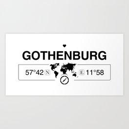 Gothenburg Västergötland with World Map GPS Coordinates Art Print