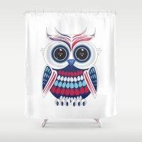 patriotic Shower Curtains featuring Patriotic Owl by Adamzworld