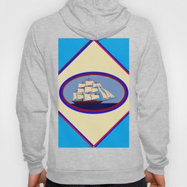 A Nautical Scene with Clipper Ship with Sky Blue Background Hoody