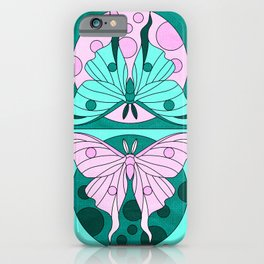 Luna Moth Phases - Teal iPhone Case