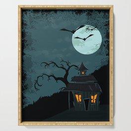 Halloween Spooky Scary House Moon Bats Tree Night Serving Tray