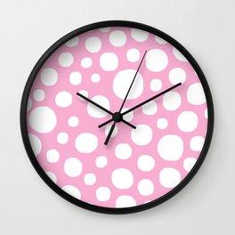 Pink Negative Dots w/ White Background Wall Clock