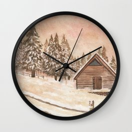 Warm Winter Cabin Wall Clock