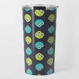 Blue Green Cute Bugs Pattern Travel Mug