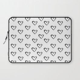 Hand drawn black watercolor romantic valentine's heart Laptop Sleeve