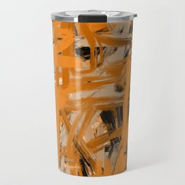 Orange & Taupe Abstract Travel Mug
