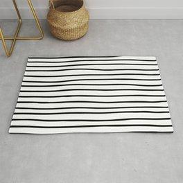 Modern simple trendy black white striped pattern Rug