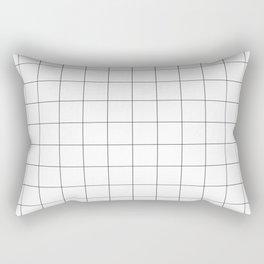 The Minimalist: White Grid Rectangular Pillow