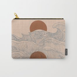 Vintage abstract landscape the great wave ocean sunset moon Carry-All Pouch