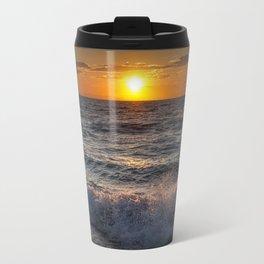 Lake Michigan Sunset with Crashing Shore Waves Travel Mug