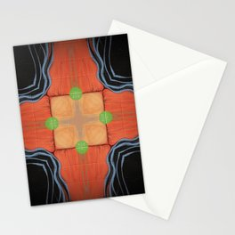 Sojourner // Tribal Geometric Vibrant Visionary Abstract Pattern Orange Black Bohemian Color Shape Stationery Cards