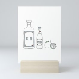 Gin tonic and lime illustration Mini Art Print