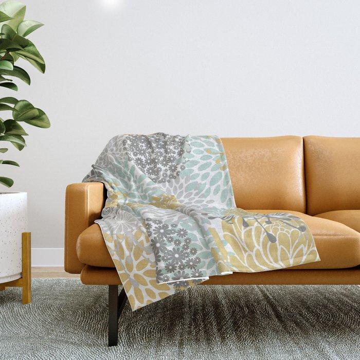 Floral Abstract Print, Yellow, Gray, Aqua Throw Blanket