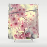 cherry blossom Shower Curtains featuring cherry blossom by Bunny Noir
