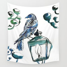 Blue crow Wall Tapestry