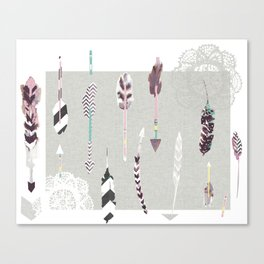 Feathers and arrows Canvas Print