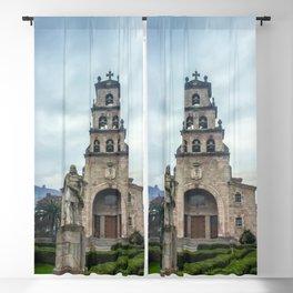 Statue of the King Pelayo and Santa Cruz chapel Blackout Curtain