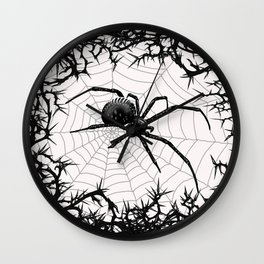Briar Web- Black and White Wall Clock